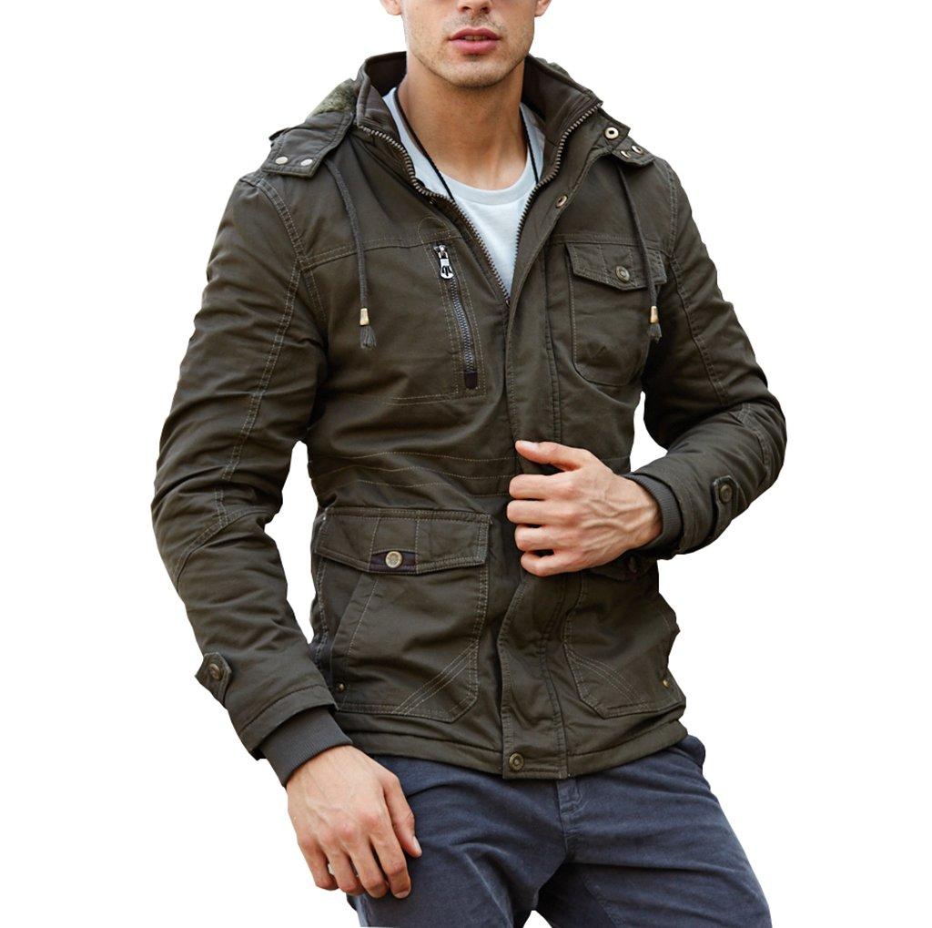 CRYSULLY Men's Winter Fleece Warm Stylish Classic Cargo Jacket Army Coat Stand Collar Army Green