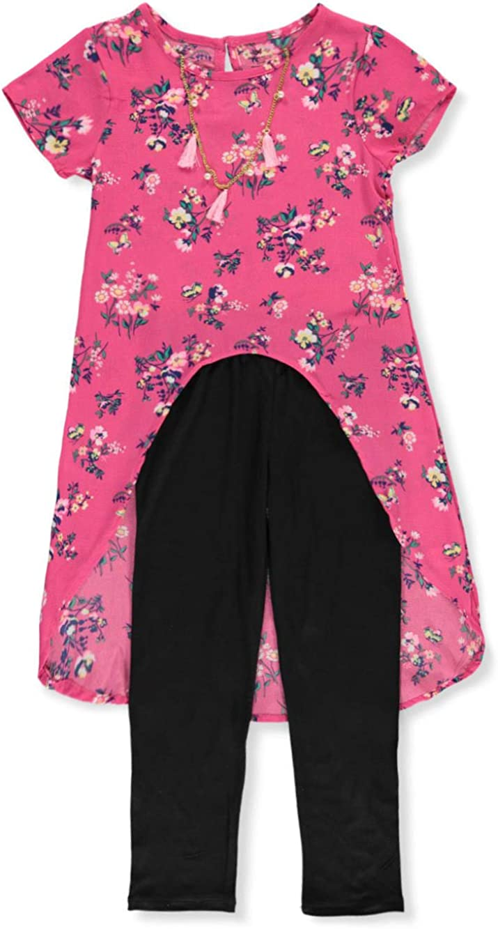 Step Up One Girls Crepe Hi-Low 2-Piece Pants Set Outfit with Necklace