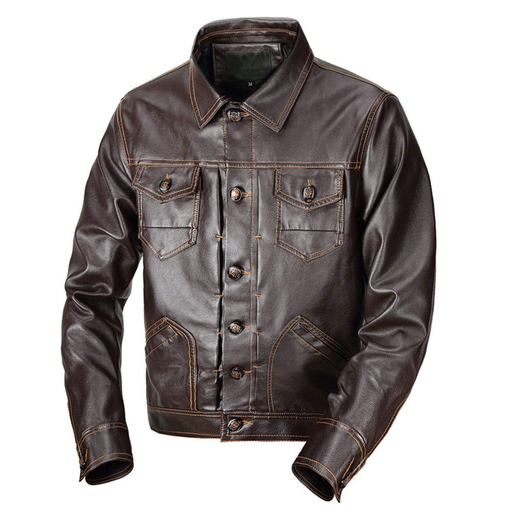 Men Winter Coat Sale Fashion Warm Pocket Button Turndown Thermal Leather Jacket