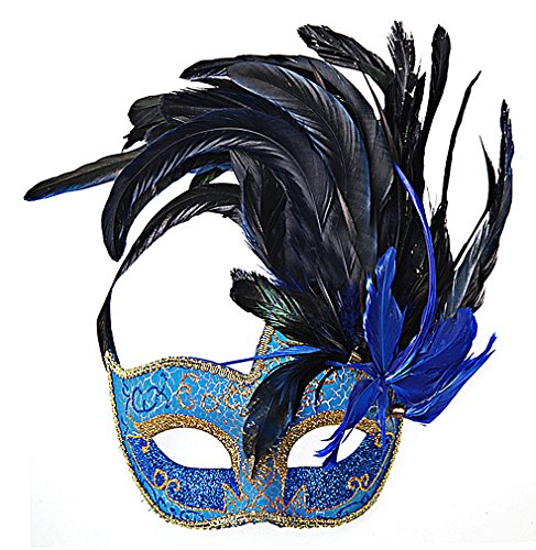 Maze Women's Colorful PVC Fancy Glittery Sequined Eye Masks With Big Feathers, Blue One - Mask Sequined