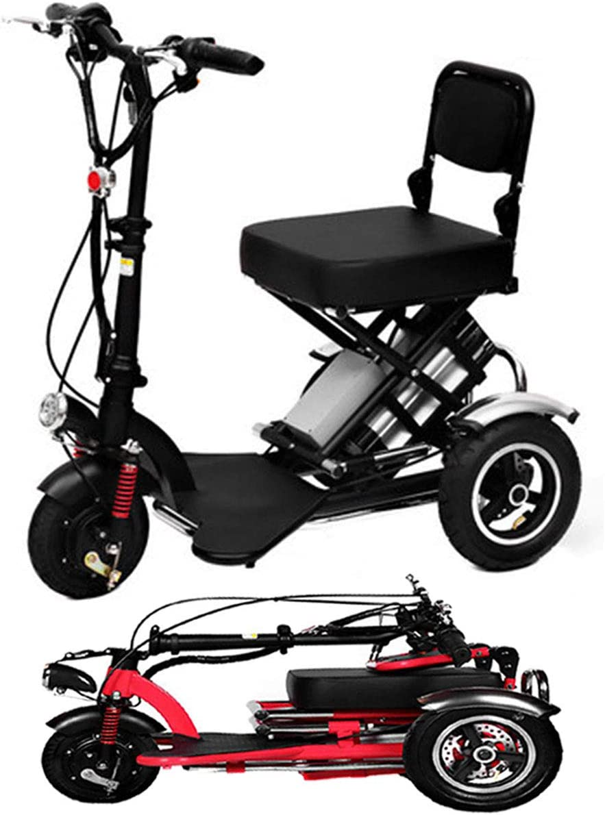 SPEED Mini Triciclo Eléctrico Plegable Scooter Eléctrico Adultos Litio Portátil para Discapacitados Ancianos Batería Coche 48V Puede Durar 60 Km Black