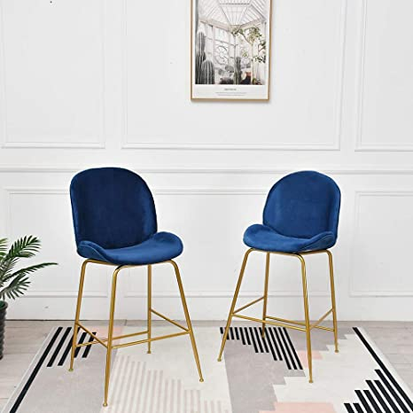 Dekea Velvet Upholstered Bar Stools with Back [Set of 2] Backless Counter  Height Barstools for Kitchen Island Living Room, Navy Blue with Gold Legs