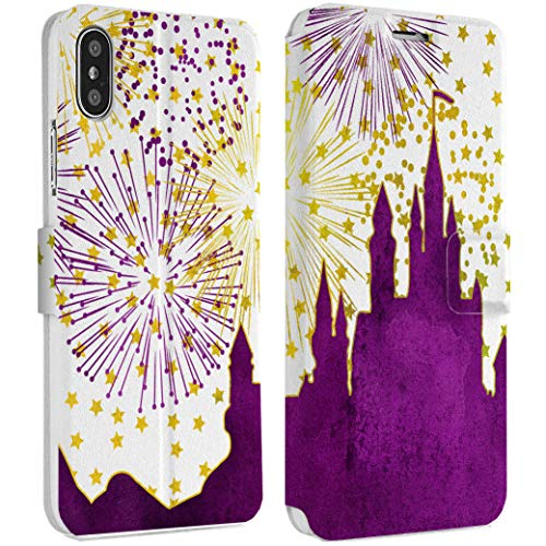 Wonder Wild Fireworks Castle iPhone Wallet Case X/Xs Xs Max Xr 7/8 Plus 6/6s Plus Card Holder Accessories Smart Flip Hard Design Protection Cover Girly Purple Stars Tower Fortress Silhouette Land -