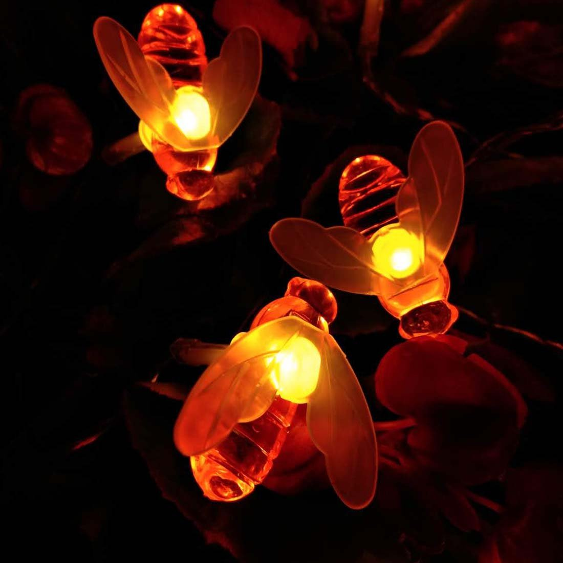 Honeybee Fairy String Lights 20 LED 7.5Ft Honeybee Battery Power Led String Lights for Party,Wedding,Xmas,Decoration,Gardens,Patios