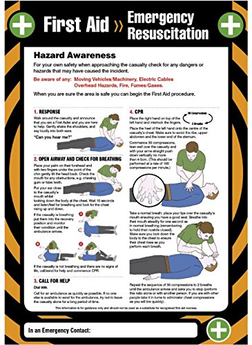 Caledonia Signs 55900 First Aid Emergency Resuscitation Poster, 420 mm x 594 mm Caledonia Signs Ltd