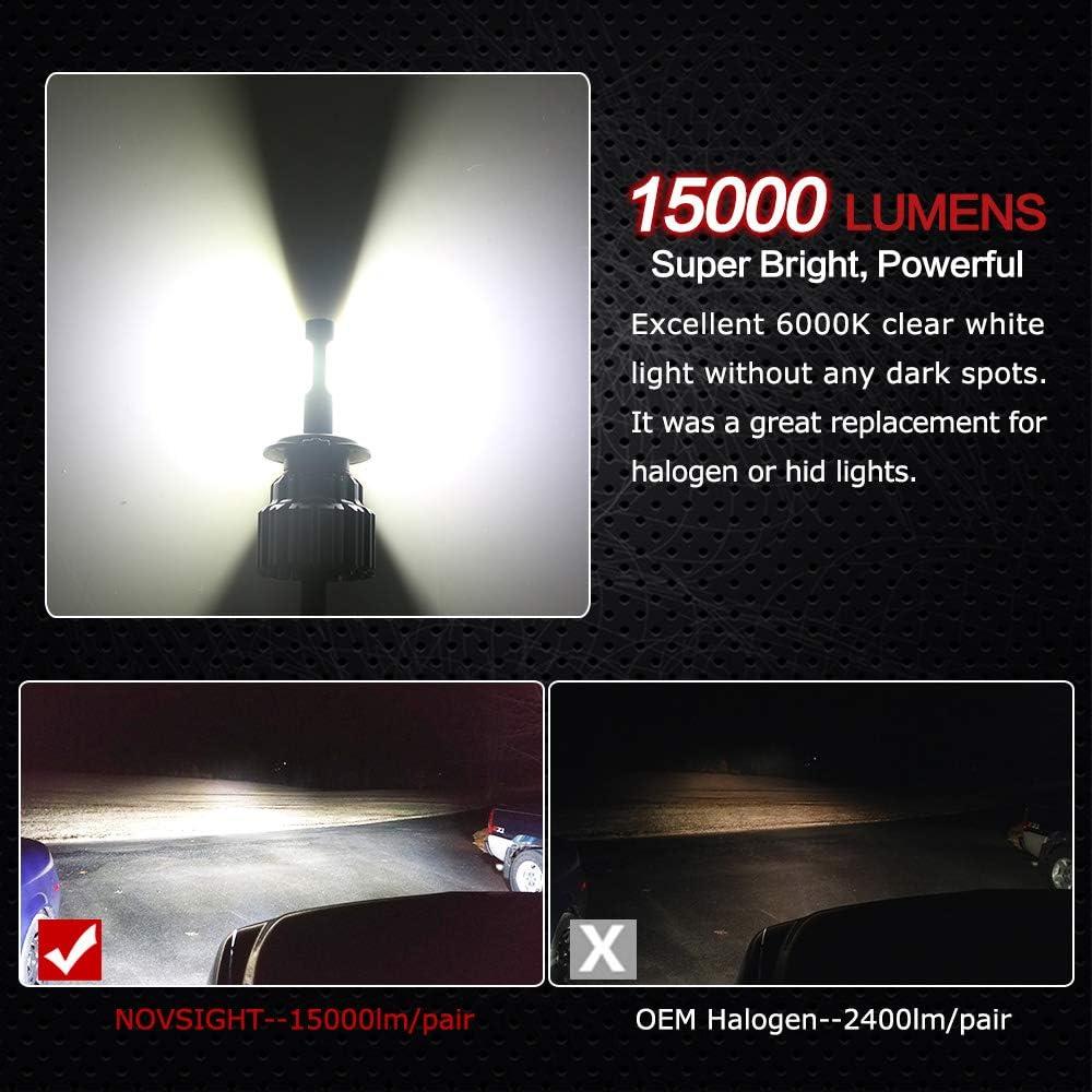 2 Piezas NOVSIGHT H4 Hi//Lo Faros Delanteros Bombillas LED 70 W 15000LM 6000K Super Brillante L/ámpara de Luces Blancas Fr/ías para Coches IP68 Impermeable Veh/ículos