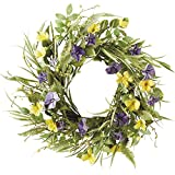 "DII Decorative Leaves & Flowers 20"" Spring Wreath for Front Door or Indoor Wall Décor to Celebrate Easter & Spring/Summer Season"