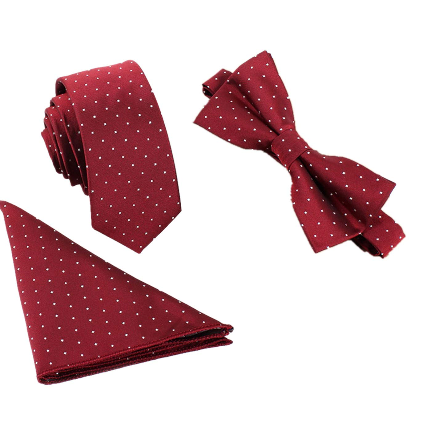 Classic Floral Paisley Tie Bow Tie Pocket Square Set Suit Wedding Necktie and Bow Tie Setpc Floral Design Matching Pattern Mens Fashion Accessories Set Red