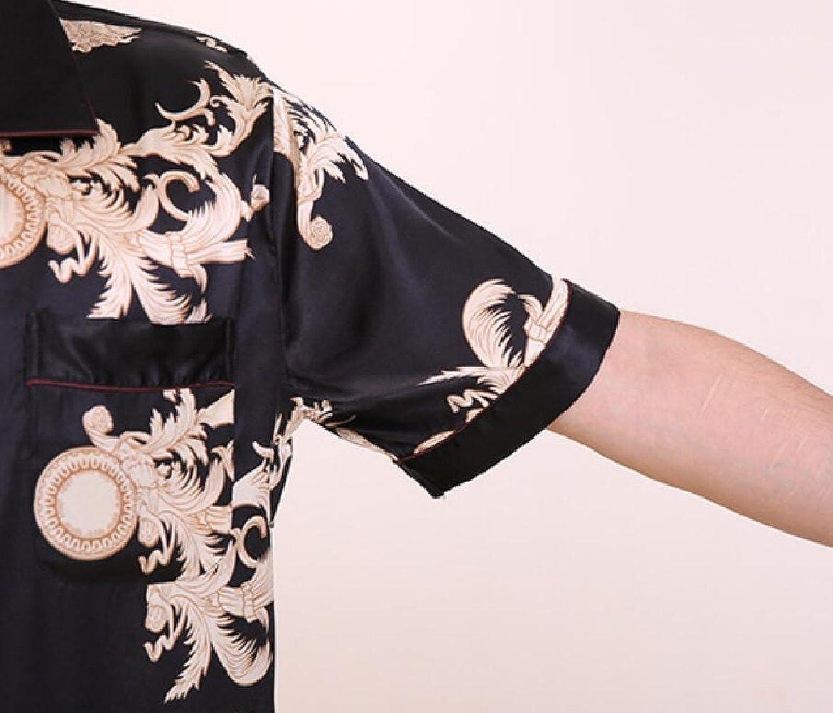 FLCH+YIGE Mens Short Sleeve Satin Pajama Set Comfort Fit Tops and Shorts