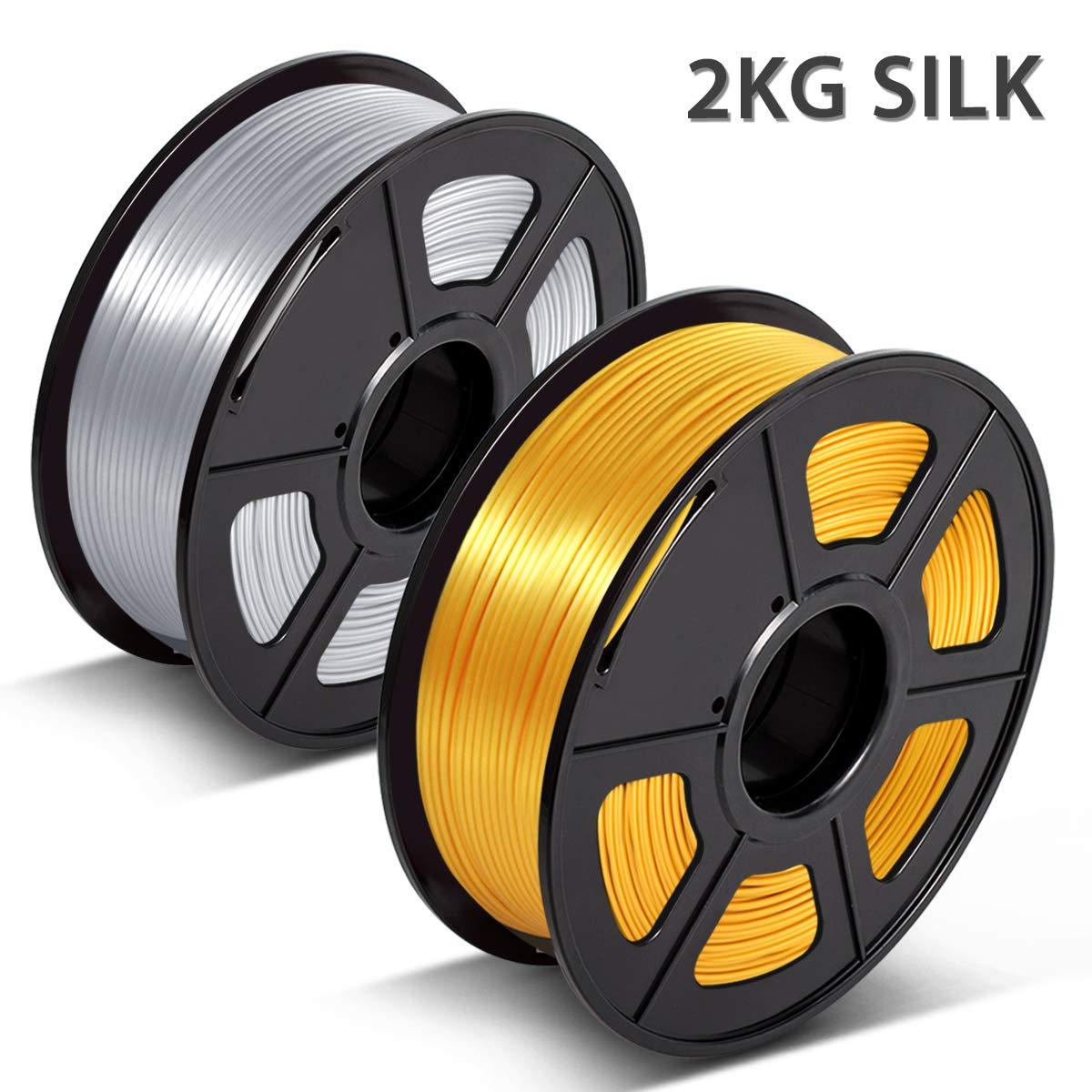 3D Filament Silk PLA 1.75mm,3D Warhorse Shiny Silk PLA Filament for 3D Printer,Silk Filament Red Copper+LightGold,2 0.02 mm,Printing Smooth // KG Spool,Dimensional Accuracy