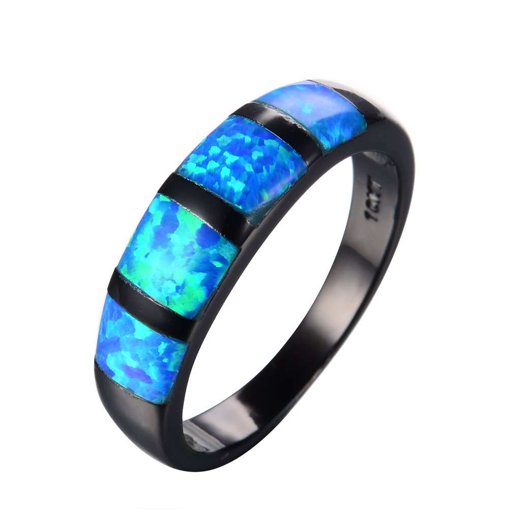RongXing Jewelry Simple New Aquamarine Blue Opal Ring, 14KT Black Gold Engagement Rings RB0667a