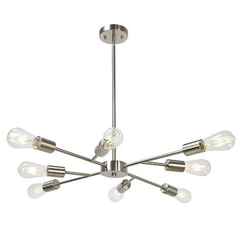 Sputnik Chandelier 8 Lights Vintage Pendant Lighting Fixtures Mid Century  Ceiling Chandelier Brushed Nickel for Dining Room Kitchen Living Room Foyer  ...