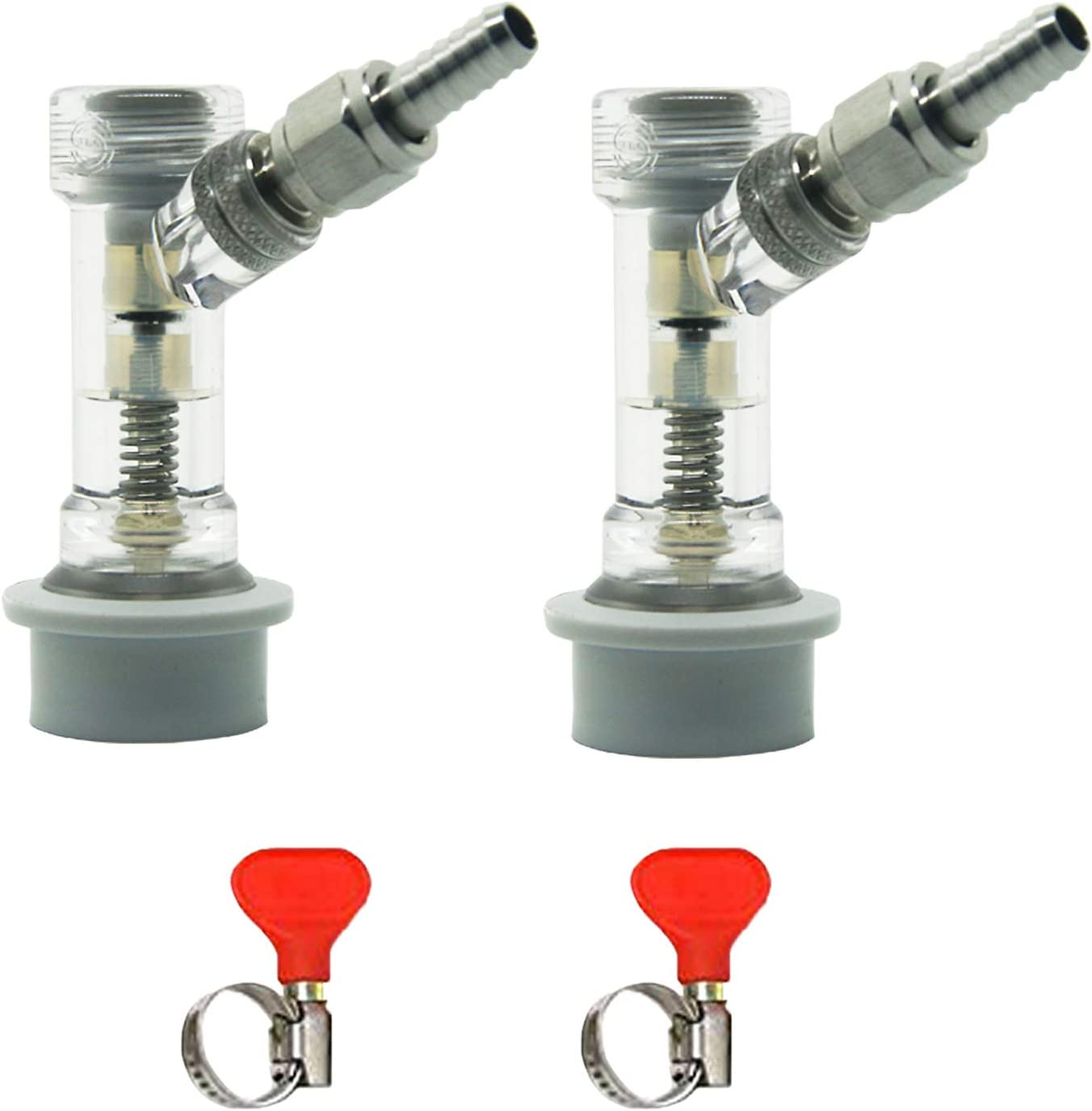 LUCKEG Check Valve Ball Lock Keg Disconnect Corny Keg Connector with Swivel Nuts and Worm Clamps for Homebrewing