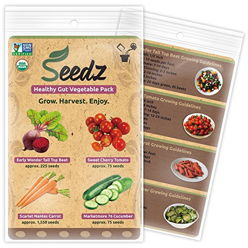 TOP-SELLING Certified Organic Seeds - Healthy Gut Vegetable Pack - Beet, Tomato, Carrot, Cucumber Seeds - Heirloom Seeds - Non GMO, Non Hybrid Vegetable Seeds - USA