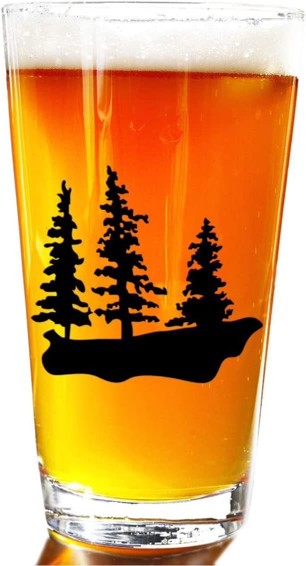 Three Trees Rustic Beer Pint Glass - Novelty Beer Pint Glass - Large 16 oz Beer Glasses Perfect Present Gift For Men Or Women Large Beer Pints Glasses For Outdoors - Great Christmas Gifts Set