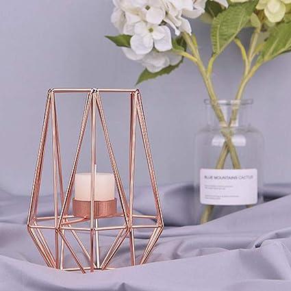 Tema Matrimonio Candele E Lanterne : Kobwa porta candela metallo geometrico metallo filo di ferro