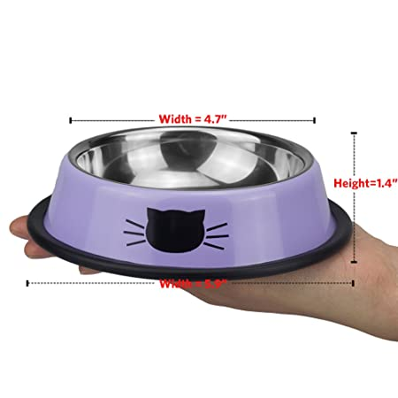 Amazon.com : Ureverbasic Cat Bowls Stainless Steel Dog Bowl 8Oz For Small Pets Puppy Kitten Rabbit Non-Skid Cat Food Bowls Easy To Clean Durable Cat Dish ...