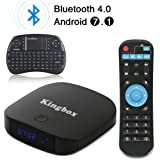 Kingbox - [2018 Neueste Version] K1 PLUS Android 7.1 TV Box 2GB Ram + 8GB eMMC Quad-Core/Bluetooth 4.0/4K Full HD/3D/2.4Ghz WiFi/100 LAN/H.265/mit Mini Wireless Tastatur Smart TV Box