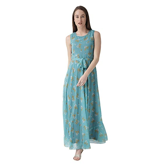 218b510da THE VANCA Women's Flared Printed Maxi Dress with Waist tie up: Amazon.in:  Clothing & Accessories