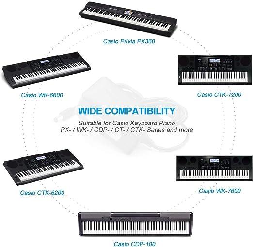 berls Cargador Sector Reemplazo Casio DC 12 V bloque alimentación Volt adaptador pared Cable para Casio Digital Piano/Stage piano S