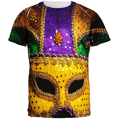 Mardi Gras Large Mask All Over Adult T-Shirt - Small (Mardi Gras Fashion)