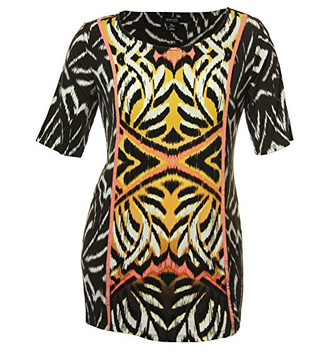 (Style & Co Women's Plus Short Sleeve Abstract Print Shirt Sunrise Ikat (0x))
