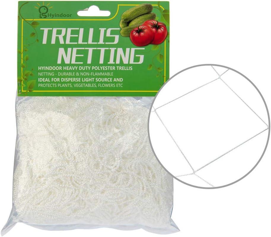 Hyindoor Red de Enrejado para Soportar Plantas de Jardín Malla de Escala para Protejer Plantas Trellis Netting Blanco (1.5m x 4.5m)