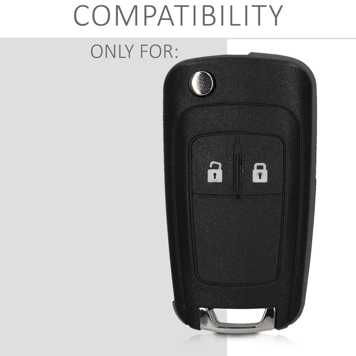 Repuesto Protector de pl/ástico Duro para Mando Llave Plegable de 2 Botones para Coche Opel Negro kwmobile Funda Llave de Coche Opel