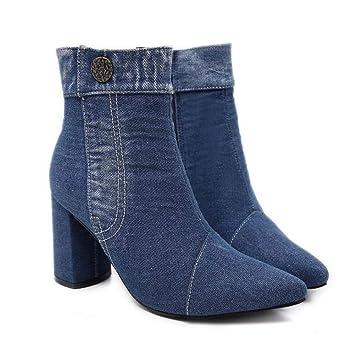 8582ec4b48 Mujeres Tobillo Botín Denim Short Botas Guapos Toe Puntiagudo 8.5 Cm Grueso  Talón Botón Cremallera OL Casual Corte Zapatos UE Tamaño 34-40  Amazon.es   ...