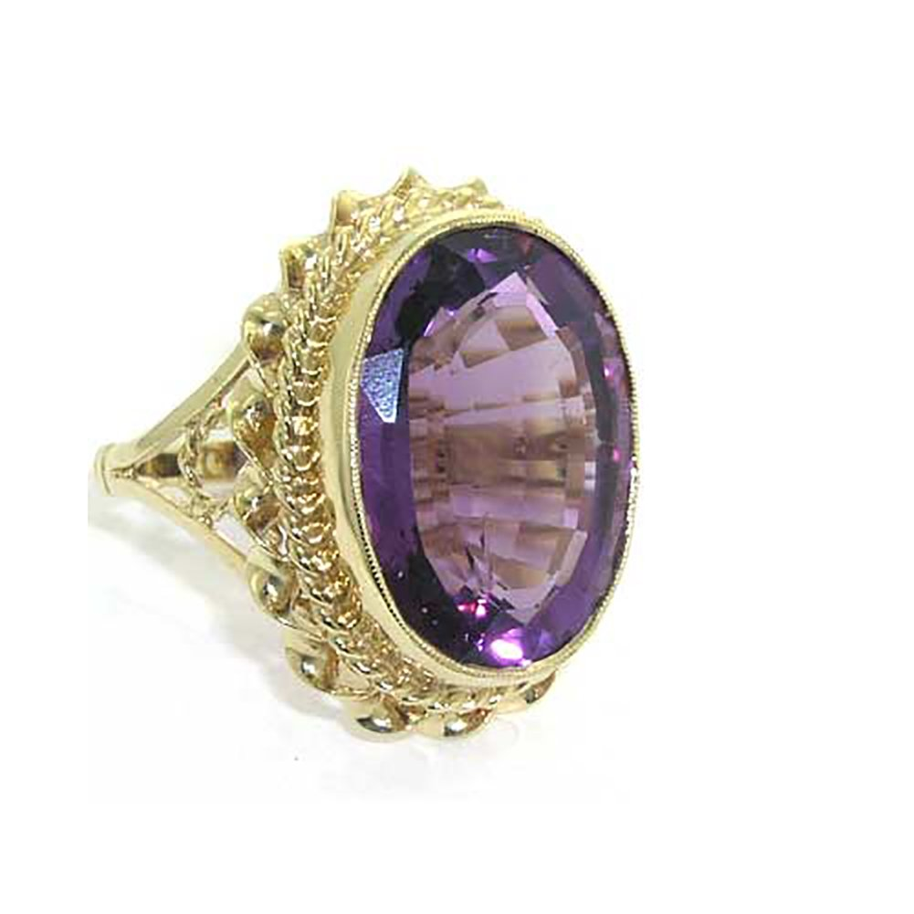 14k Yellow Gold Large Natural Amethyst Womens Ring - Sizes 5 to 12 Available by LetsBuyGold