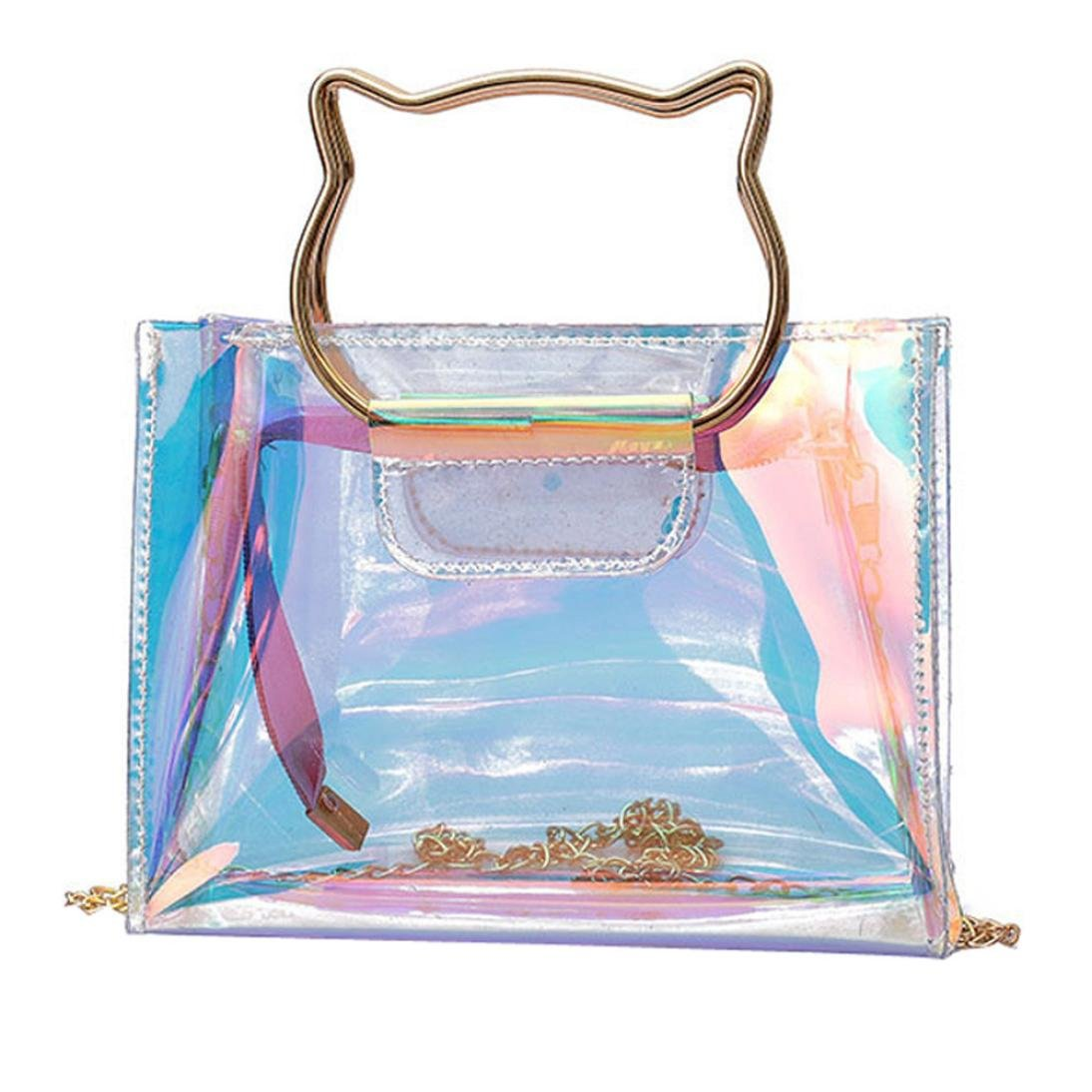 Alixyz Women Transparent Candy Color Handbag Beach Bag Jelly Bag Girls Mini Chain Shoulder Bag (M, Multicolor)