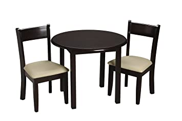 Gift Mark Childrenu0027s Round Table With 2 Matching Upholstered Chairs,  Espresso