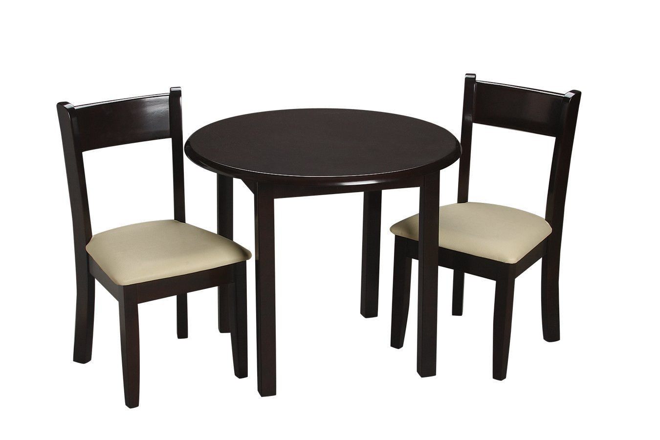 Gift Mark Children's Round Table with 2 Matching Upholstered Chairs, Espresso