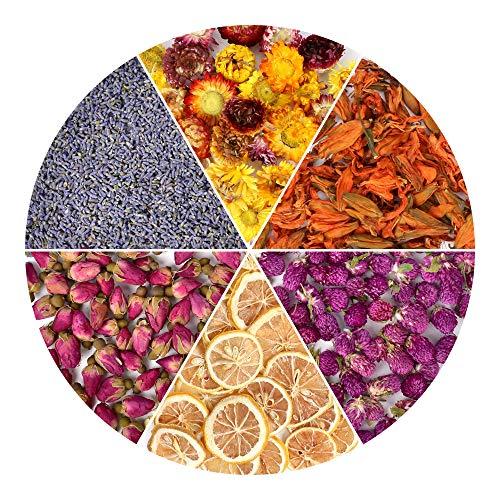 (HAIOPS Dried Flowers Soap Making Scents Kits Rosebuds, Lavender, Lemon Slice, Lily, Gomphrena Globosa Linn, Strawflower, 6 Bags )