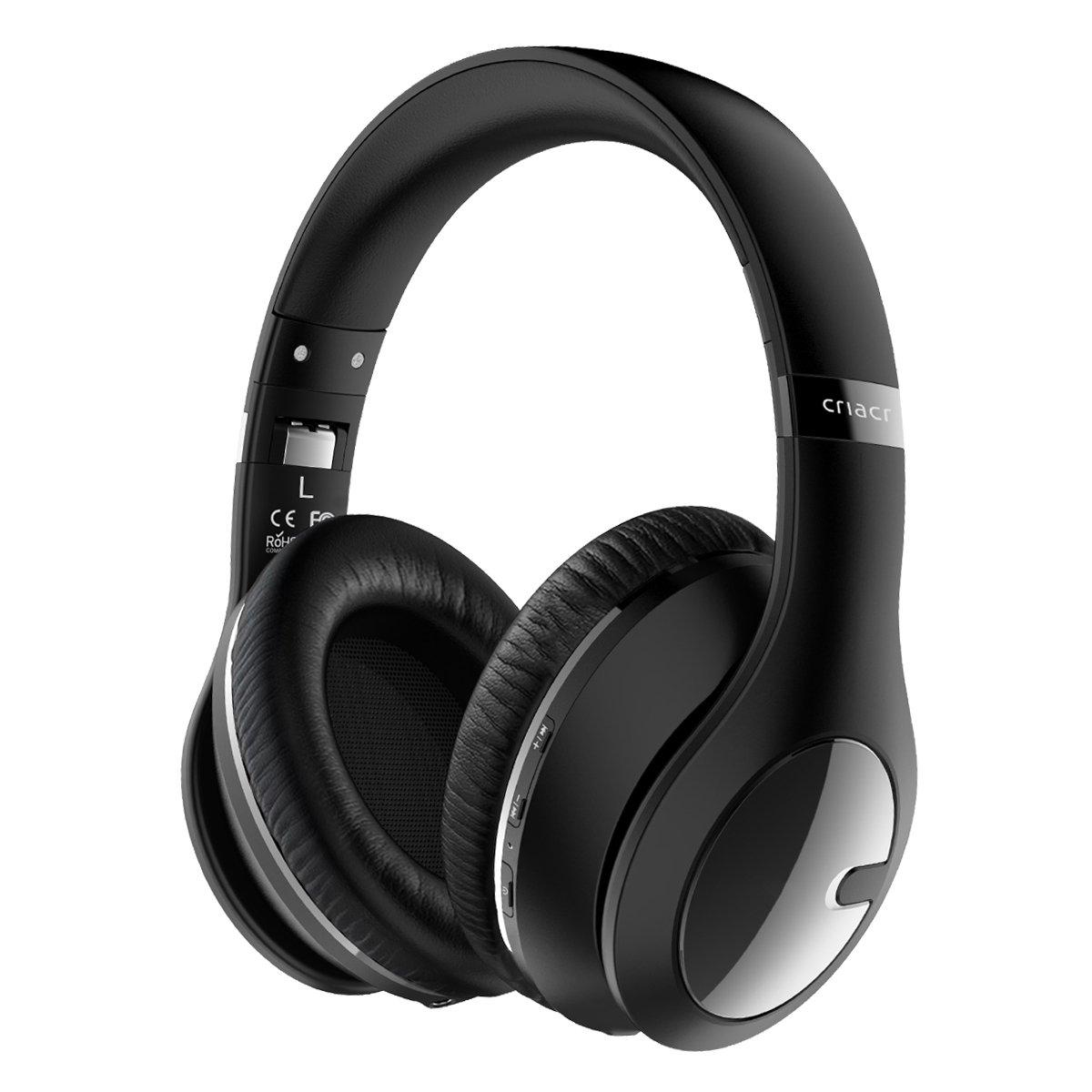 Auriculares Criacr Bluetooth Over-Ear Soft Earmuffs Microfono Incorporadorofono Plegable Liviano Inalambrico Headset con