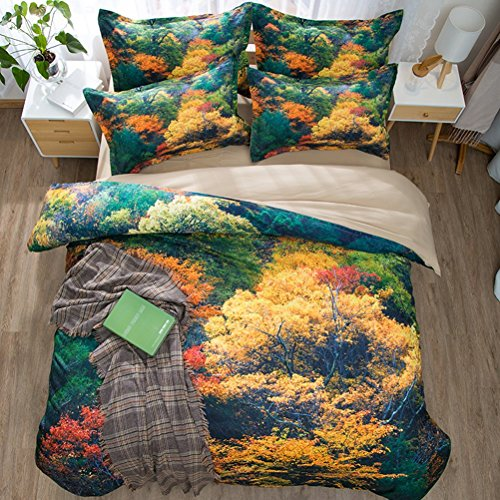 """Pattern Leaf Mission (WarmGo Duvet Cover Set for Adulti Kids,Twin 68""""x86"""",Customized 3d Maple Leaf Forest Pattern Bedding Sets,3 Pieces (2 Pillowcases and 1 Duvet/Quilt Cover) No Comforter)"""