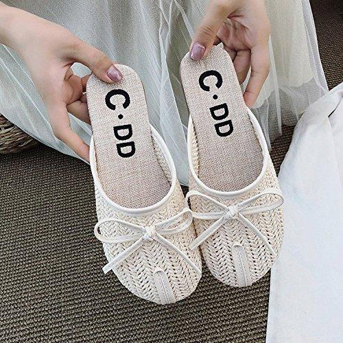 Mori Chaussures Sandales 40 Plat Corde White Nouvelles Tête Confortable Tressée XING 38 Décontractées Les White Lin Girl Paille GUANG Creuse Pantoufles pRntZX
