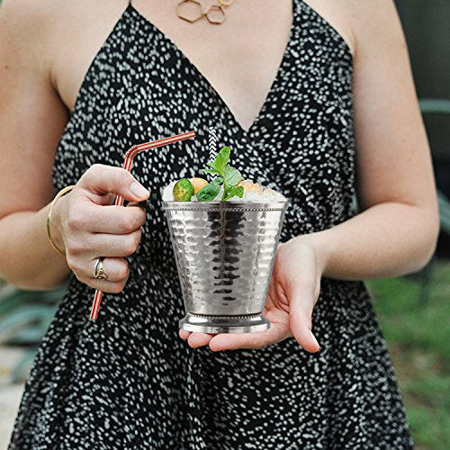 Cocktail Mint Julep Cup – 12 Oz Stainless Steel Mint Julep Glasses (Hammered) (4) by Imperial Home (Image #6)