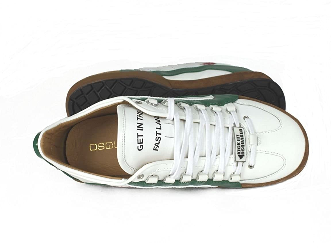 DSquared Mens 551 Low Top White Weiß Grün Size: 11: Amazon