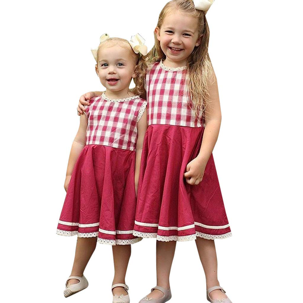 NUWFOR Summer Toddler Baby Girls Sleeveless Plaid Print Lace Vest Dress Clothes Dresses(Red,12-18 Months)
