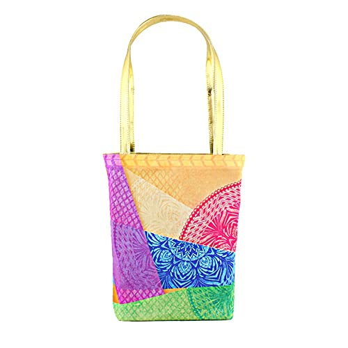 The Ringmaster Women s Zipped Tote Bag - Chakra Kaleidoscope (Green    Golden) Small Size 11ce4e8faf