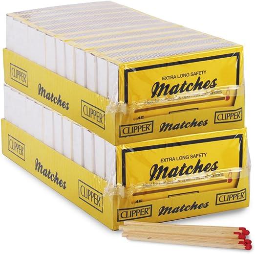 Caja de cerillas Clipper extra largas para mayor seguridad, con 45 unidades, ideal para barbacoas, chimeneas abiertas y velas, que viene con bolígrafo TCH antibacteriano, 24 Boxes: Amazon.es: Hogar