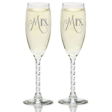 Mrs. & Mrs. Gay Couple Silver Champagne Flutes - Hers and Hers Same Sex - Toasting Gift Sets - Engagement, Wedding, Anniversary, House Warming, Hostess Gift