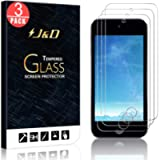 J&D Compatible for iPod Touch 2019 Glass Screen Protector (3-Pack), Not Full Coverage, Tempered Glass HD Clear Ballistic…