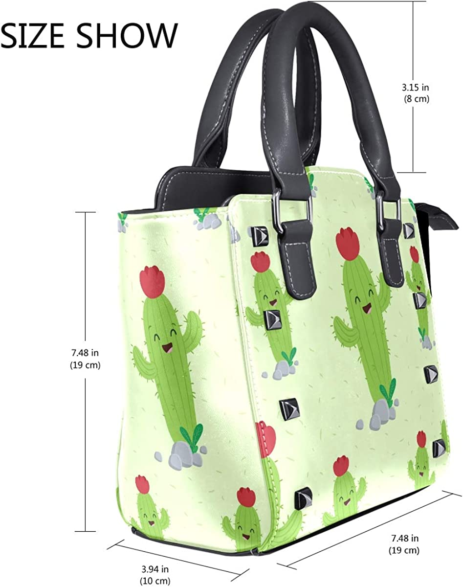 Green Smile Cactus Leather Handbags Purses Shoulder Tote Satchel Bags Womens
