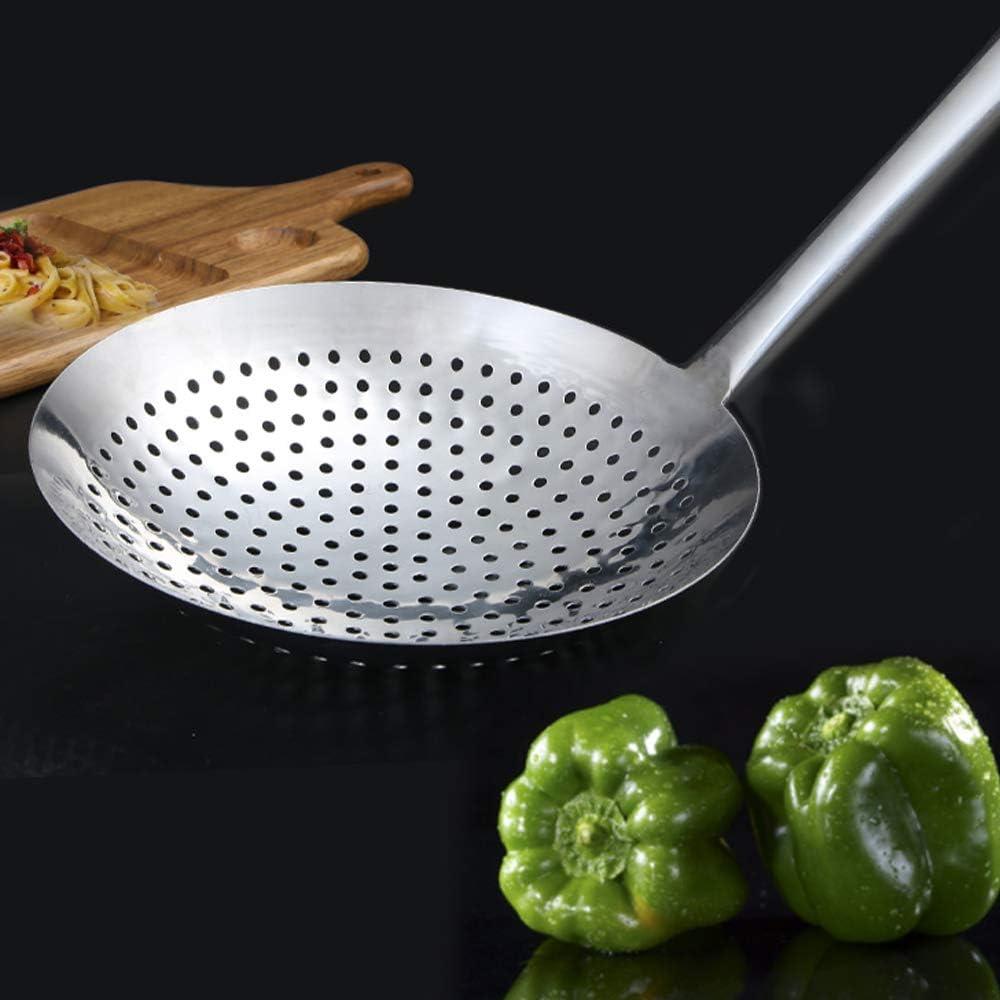 Pasta 18cm Super Leader Skimming spoon,304 stainless steel colander,Round Stainless Steel Skimmer for Kitchen Deep Fryer Noodle Spaghetti