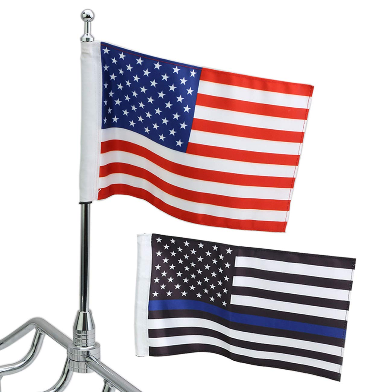 1 Pair Motorcycle Flag Pole Mount & 6 x 10 Flag American USA Fit for Honda Yamaha Harley Davidson BOXATDOOR