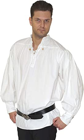 Maylynn 15224 - Camisa Medieval de algodón. Camisa de Pirata Caytan, Blanca, Talla L: Amazon.es: Juguetes y juegos