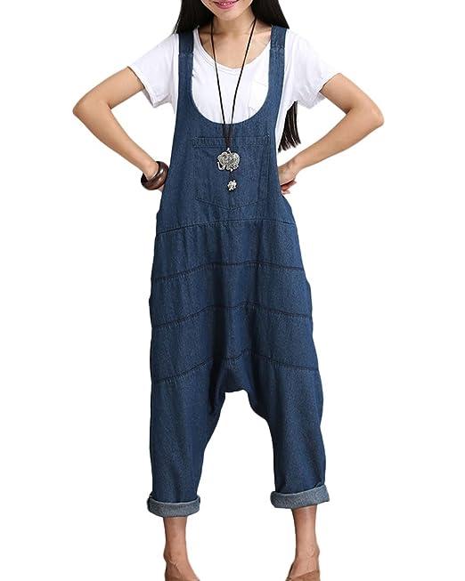 008649bf1daf5 ShiFan Peto Vaquero Mujer Monos Casual Brazaletes De Tirantes Pantalones De  Harén Azul S  Amazon.es  Ropa y accesorios