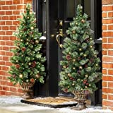 Set of 2 48'' Pre Lit Battery Operated Porch Tree Outdoor Christmas Topiary Yard Decor